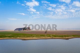 beautiful shoe hill in autumn on poyang lake