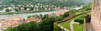 Panorama aerial view on Heidelberg and river Neckar