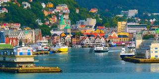 Bergen, Norway city view with port