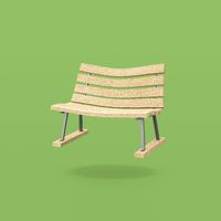 Funny Wooden Bench on Green Background