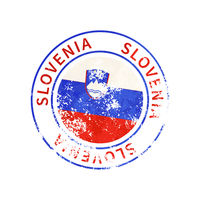 Slovenia sign, vintage grunge imprint with flag on white