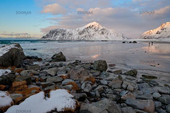 Lofoten Flakstad Beach in winter season