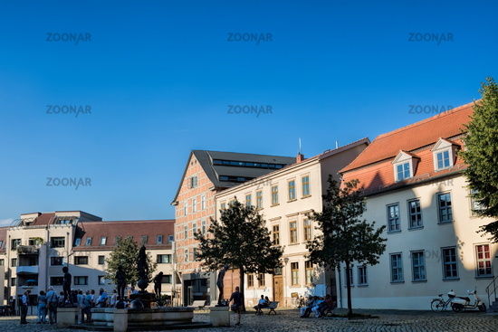 Halle Saale, Germany - 17.06.2019 - Cathedral Square with a fountain