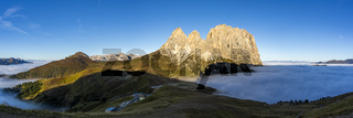 Panorama of cloud sea at Sella mountain pass between the provinces of Trentino and South Tyrol, Dolomites
