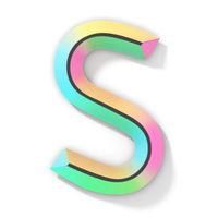 Neon color bright font Letter S 3D