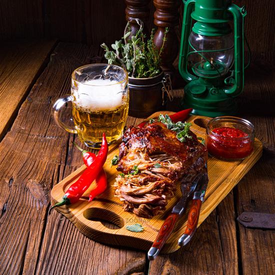 Pulled pork, tender roast pork from the oven