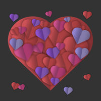 colorful hearts on dark background
