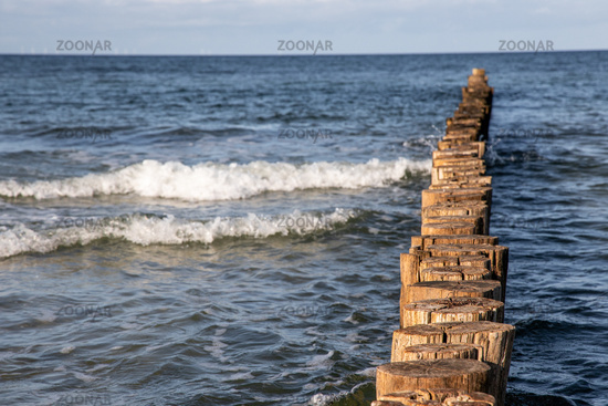 old groynes from above baltic sea beach