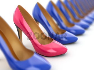 High heels shoes on white background.
