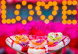 Soft Focus Valentines Day Heart Shaped Sushi Platter