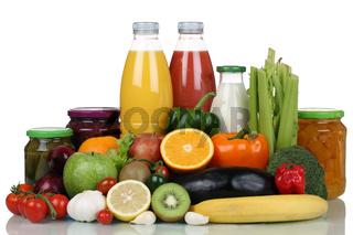 Früchte, Gemüse, Obst, Lebensmittel und Saft Getränk
