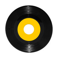 Vinyl 45rpm single record on white with clipping path