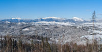 Winter remote alpine village outskirts, countryside hills, groves and farmlands view from mountain slope