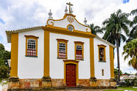 Front view of an old church built in the 18th century in baroque style