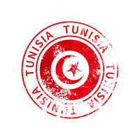 Tunisia sign, vintage grunge imprint with flag on white