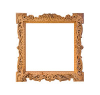 Old wooden photo frame with abstract Russian ornament