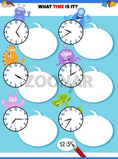 telling time educational task with fantasy characters