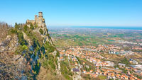 Panoramic view of San Marino and Borgo Maggiore