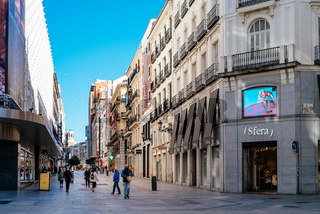 View of Preciados Street, a commercial street in Madrid
