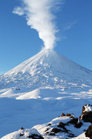 Eruption Klyuchevskoy Volcano - active volcano of Kamchatka Peninsula