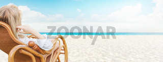 Young beautiful blonde woman enjoying tropical sea view while sitting on chair at luxury resort lounge. Wide web banner format design