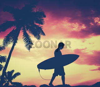Retro Palm Tree And Surfer