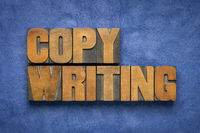 copywriting word abstract in wood type