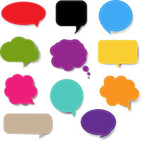 Colorful Speech Bubble Set Isolated White Background