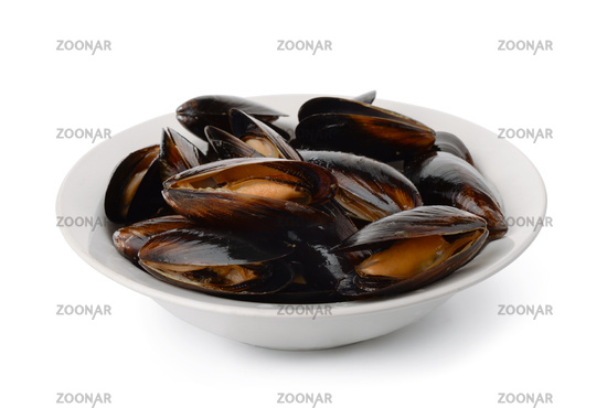 Ceramic plate of fresh boiled mussels