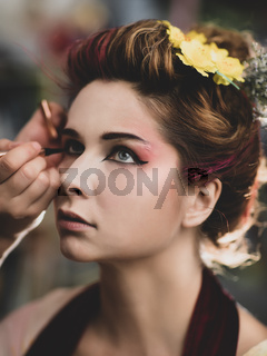 Portrait of a beautiful woman in beauty salon