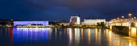 Lentos Art Museum at the bank of the Danube river by night, Linz, Upper Austria, Austria, Europe