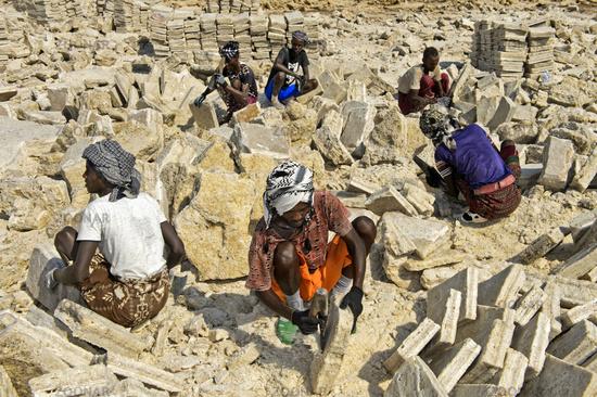 Afar salt workers hew salt blocks for transport, Danakil Depression, Afar Region, Ethiopia