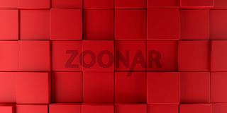 Modern red cubes background, 3d rendering