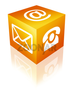 Würfel mit Kontakt-Icons in orange