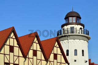 Lighthouse in the fishing village. Kaliningrad, Russia