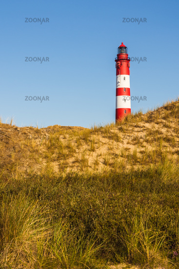 Lighthouse in the Dune Landscape of Amrum, North Sea, Germany