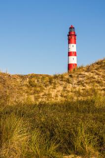 Leuchttum Amrum in der Dünenlandschaft der nordfriesischen Insel Amrum, Nordsee, Deutschland