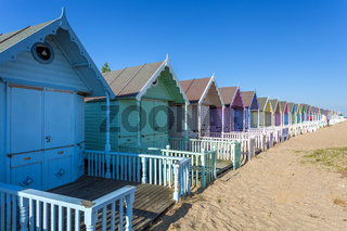 WEST MERSEA, ESSEX/UK - JULY 24 : Colourful beach huts in West Mersea Essex on July 24, 2012