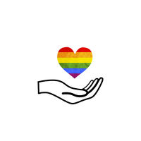 Hand hold a LGBT rainbow flag in heart shape, concept icon on white