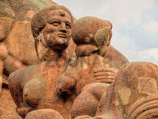 detail from the old fertility fountain from 1934 at arnswalder platz in berlin, germany