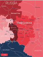 Chechnya region of Russia detailed editable map