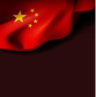 Waving flag of china. Vector illustration on dark background