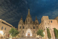 Barcelona Spain, city skyline night at Barcelona Cathedral empty nobody