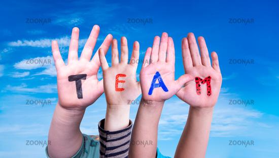 Children Hands Building Word Team, Blue Sky