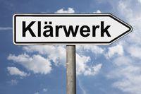 Wegweiser Klärwerk | signpost Klärwerk (Sewage treatment plant)