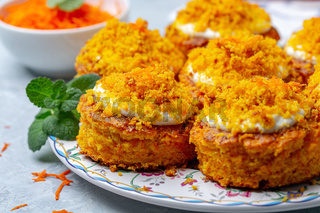 Traditional carrot cakes close-up.