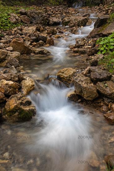 Mountain stream on Seiser Alm, Alpe di Siusi, South Tyrol
