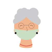 Elderly woman with medical mask portrait. Lockdown for old people. Risk group of Covid-19