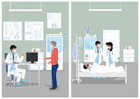 Medical Illustration of Doctor's Office and Hospital