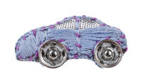 car brooch embroidered by blue silk threads